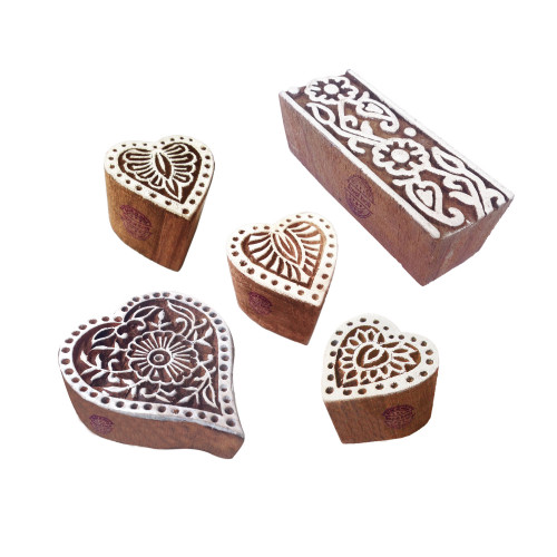(Set of 5) Ornate Pattern Heart and Flower Wood Block Stamps