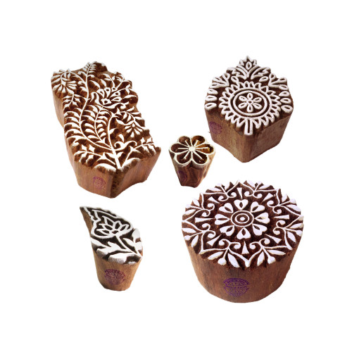 (Set of 5) Attractive Pattern Round and Flower Wood Block Stamps