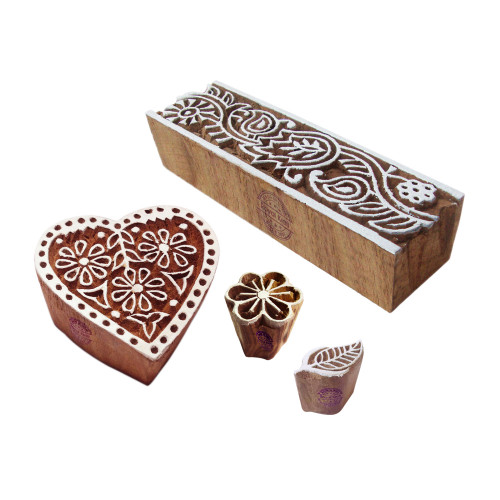 (Set of 4) Oriental Designs Heart and Flower Wood Print Stamps