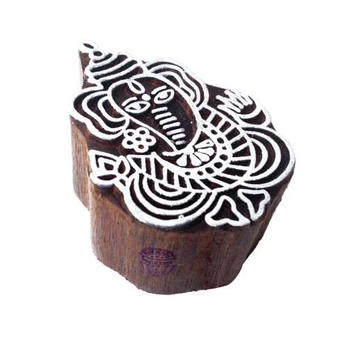 Hand Carved Printing Stamps Lord Ganesha Motif Wood Blocks