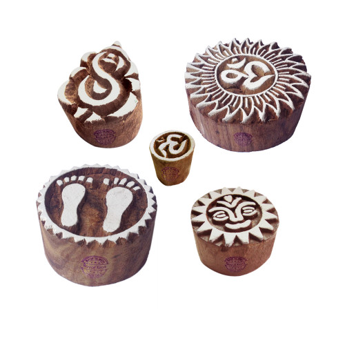 (Set of 5) Decorative Pattern Religious and Ganesha Wood Block Stamps