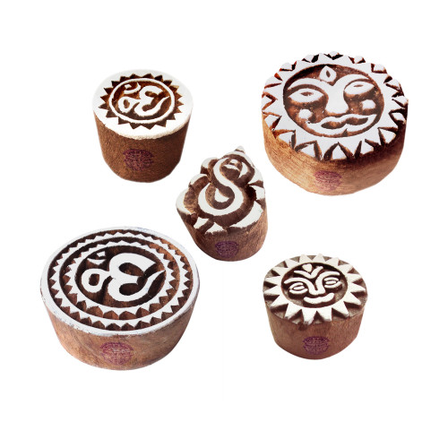 (Set of 5) Arty Crafty Motif Religious and Ganesha Wooden Printing Stamps
