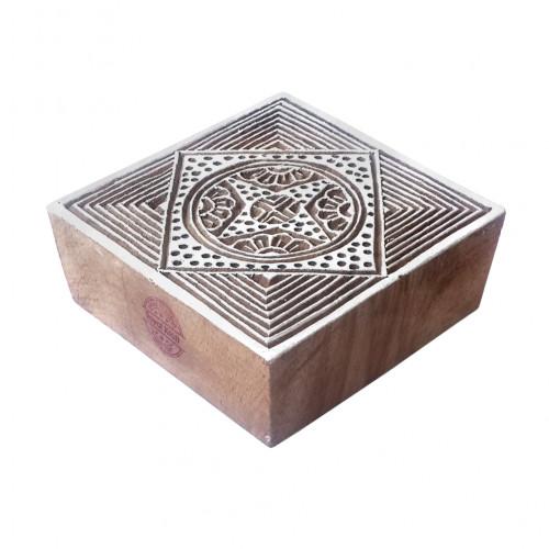 Classy Print Stamps Square Geometric Pattern Wooden Blocks