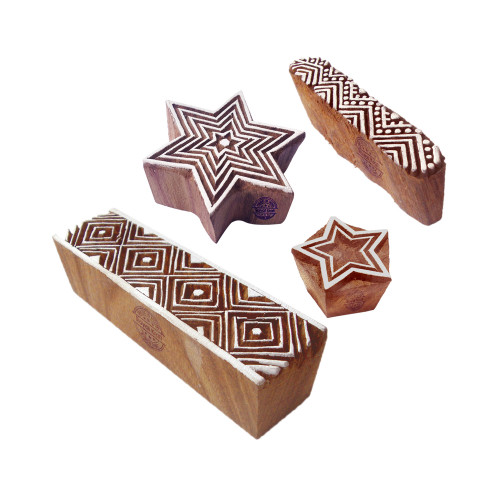 (Set of 4) Fancy Pattern Star and Geometric Wood Print Blocks
