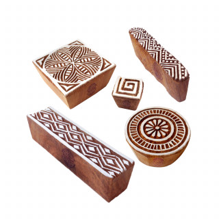 (Set of 5) Popular Designs Chevron and Geometric Wooden Block Stamps