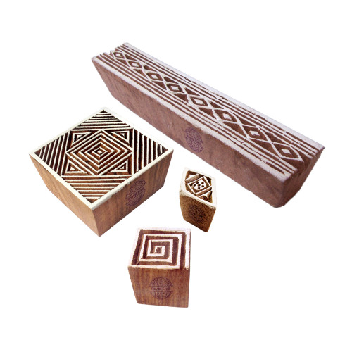 (Set of 4) Retro Designs Mix and Geometric Wooden Block Stamps
