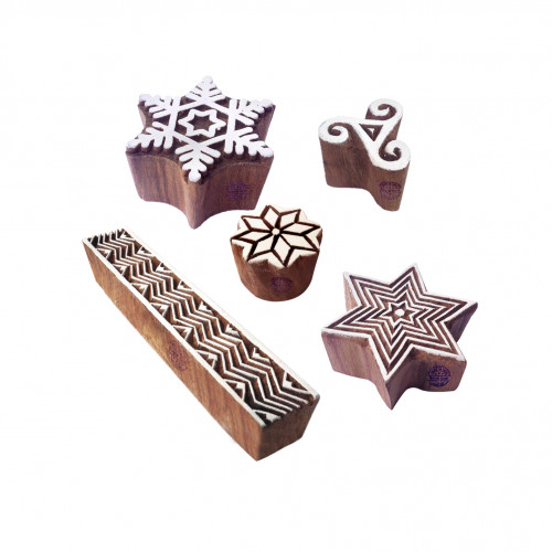 (Set of 5) Artistic Motif Snowflake and Geometric Wooden Printing Stamps