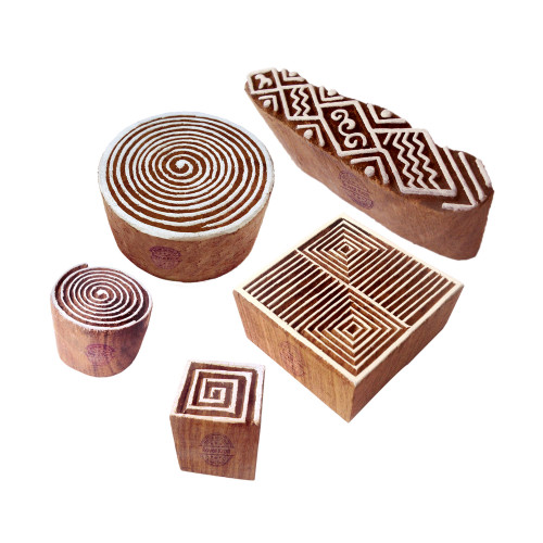 (Set of 5) Designer Motif Spiral and Geometric Wooden Printing Stamps