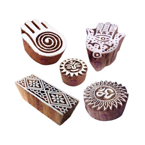 (Set of 5) Decorative Pattern Religious and Hamsa Hand Wood Print Blocks