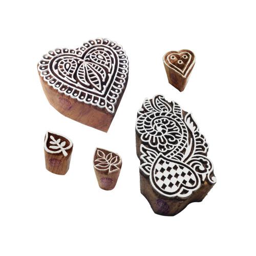 (Set of 5) Henna Wood Stamps Decorative Heart Design Printing Blocks