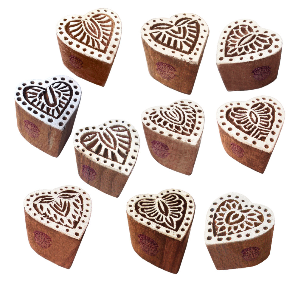 Set of 10 Henna Wooden Stamps Traditional Small Floral Pattern Printing Blocks