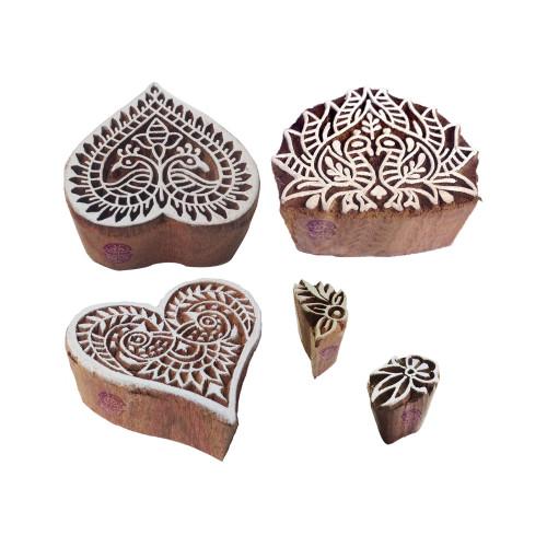 (Set of 5) Mehndi Wood Blocks Jaipuri Peacock Heart Shape Printing Stamps