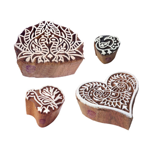 (Set of 4) Arty Crafty Pattern Peacock and Heart Wood Block Stamps