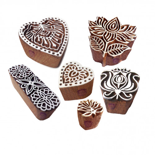 (Set of 6) Contemporary Designs Lotus and Heart Wooden Block Stamps