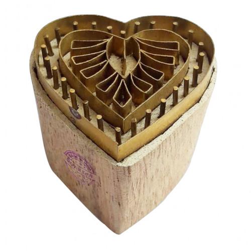 Royal kraft Designer Design Heart Wooden Brass Stamp