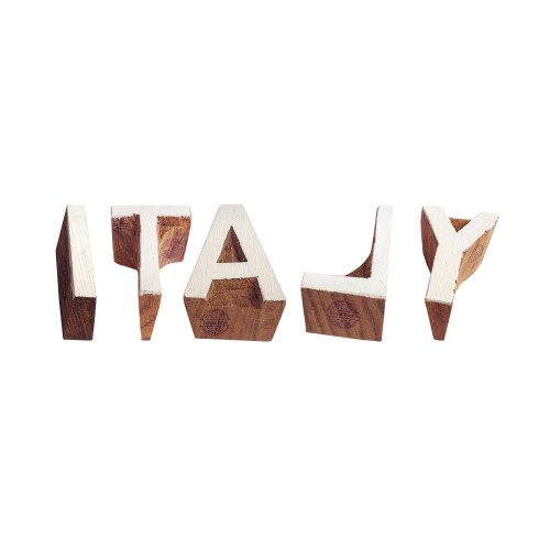 (Set of 5) Country Printing Blocks Handcrafted Letter Italy Shape Wood Stamps