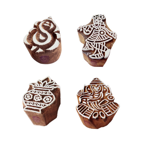 (Set of 4) Indian Motif Ganesha and Krishna Wooden Printing Stamps