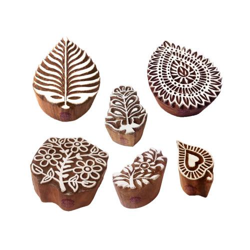 (Set of 6) Textile Print Blocks Elegant Floral Leaf Pattern Wooden Stamps
