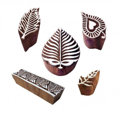 (Set of 5) Designer Pattern Border and Leaf Wood Block Stamps