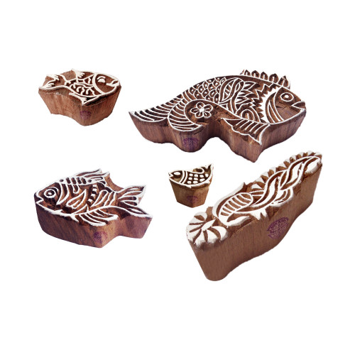 (Set of 5) Trendy Pattern Fish and Leaf Wood Block Stamps