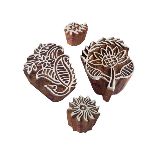 (Set of 4) Creative Pattern Floral and Leaf Wood Block Stamps