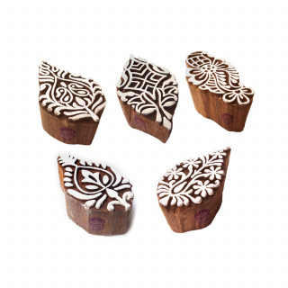 (Set of 5) Arty Crafty Pattern Assorted and Leaf Wood Print Blocks