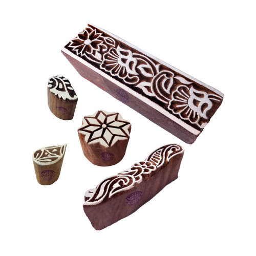 (Set of 5) Attractive Pattern Floral and Leaf Wood Print Blocks