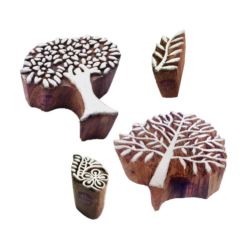 (Set of 4) Designer Pattern Tree and Leaf Wood Print Blocks