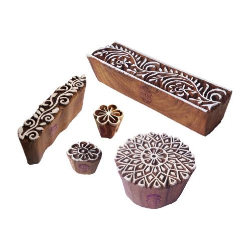 (Set of 5) Elegant Designs Mandala and Leaf Wood Print Stamps
