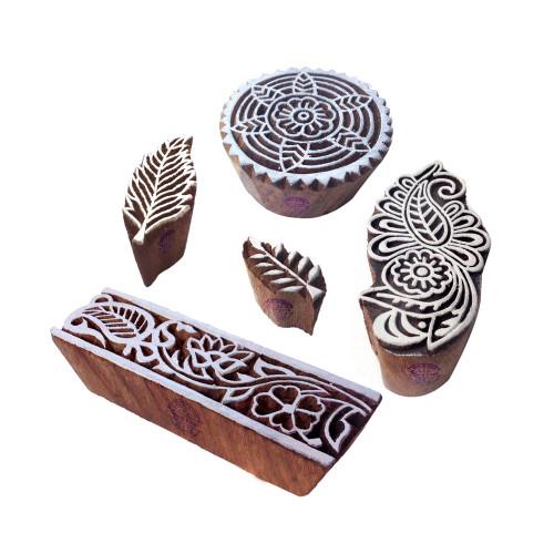 (Set of 5) Asian Designs Floral and Leaf Wooden Block Stamps