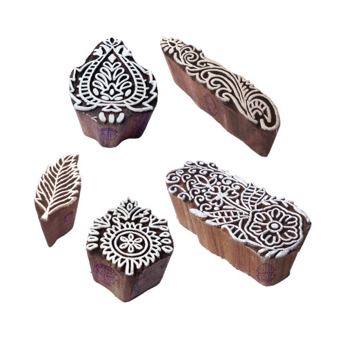 (Set of 5) Abstract Designs Damask and Leaf Wooden Printing Blocks