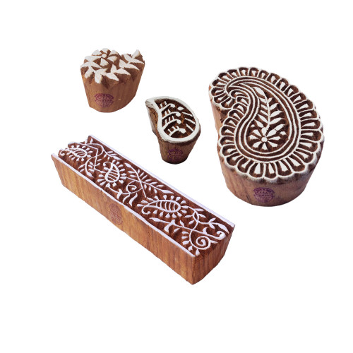 (Set of 4) Asian Designs Paisley and Leaf Wooden Printing Blocks
