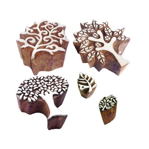 (Set of 5) Ornate Motif Tree and Leaf Wooden Printing Stamps