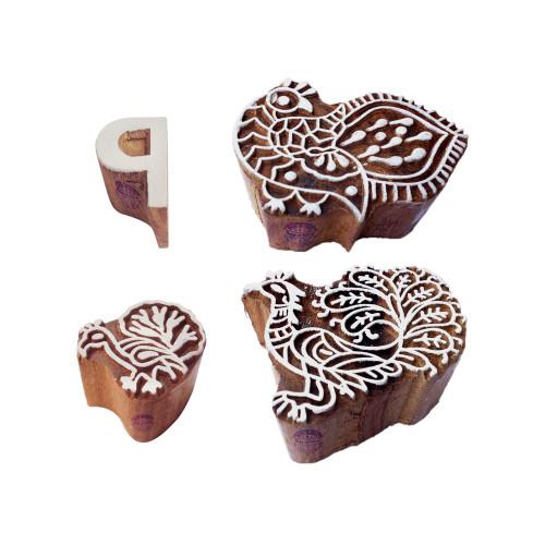 (Set of 4) Learning Print Blocks Jaipuri Peacock Letter Design Wood Stamps