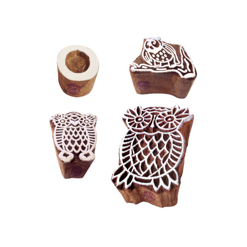 (Set of 4) Educational Print Blocks Stylish Owl Letter Design Wood Stamps