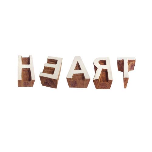(Set of 5) Educational Print Blocks Elegant Heart Letter Design Wood Stamps