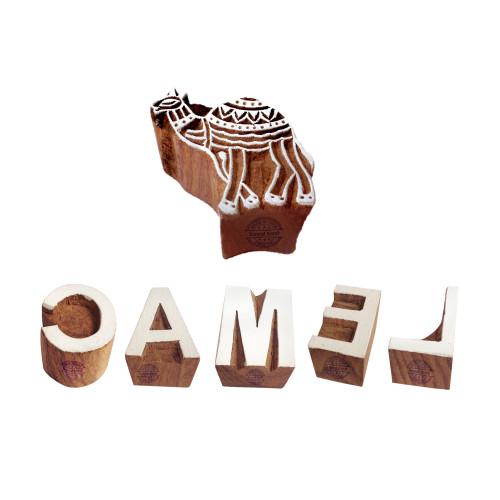 (Set of 6) Educational Printing Blocks Stylish Camel Letter Shape Wood Stamps