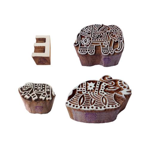 (Set of 4) Educational Print Stamps Designer Elephant Letter Shape Wooden Blocks