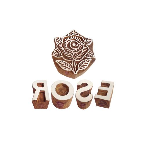 (Set of 5) Educational Print Stamps Artistic Rose Letter Shape Wooden Blocks