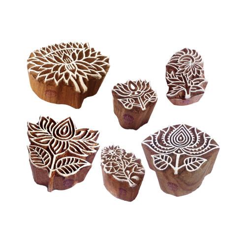 (Set of 6) Clay Print Stamps Ornate Floral Lotus Pattern Wood Blocks