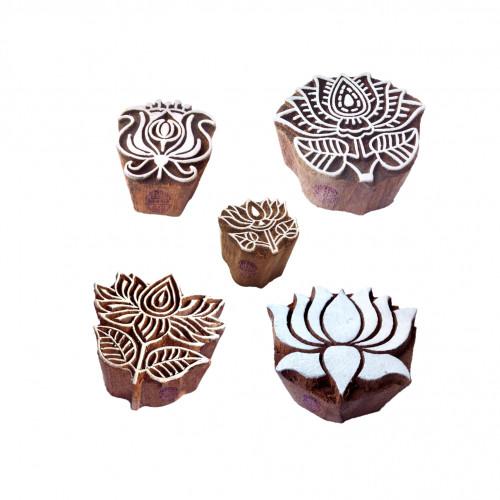 (Set of 5) Ornate Pattern Assorted and Lotus Wood Print Blocks