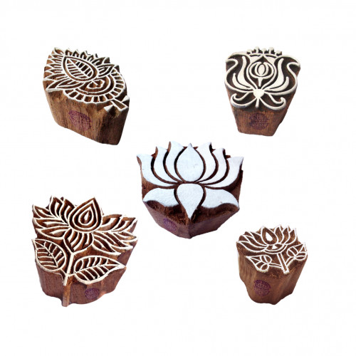 (Set of 5) Elegant Designs Flower and Lotus Wooden Block Stamps