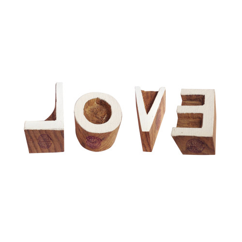 (Set of 4) Clay Printing Stamps Handcarved Letter Love Shape Wooden Blocks