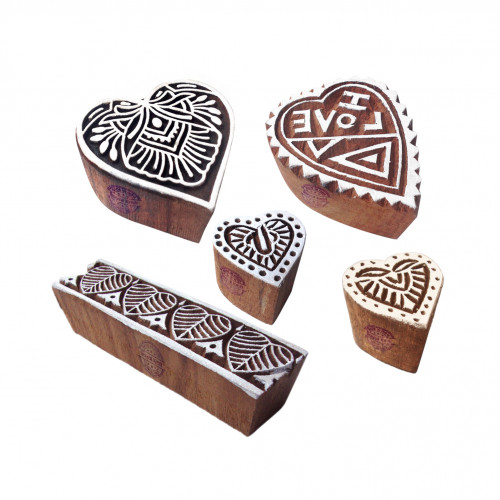 (Set of 5) Creative Pattern Heart and Love Wood Block Stamps