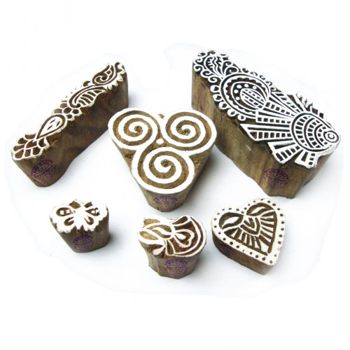 (Set of 6) Elegant Floral and Spiral Motif Wood Block Stamps