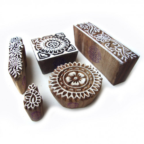 (Set of 5) Traditional Assorted and Floral Motif Wood Block Stamps