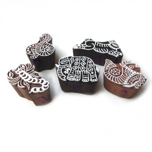 (Set of 5) Exclusive Snake and Scorpio Motif Wood Block Stamps