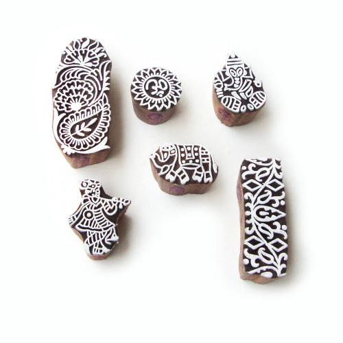 (Set of 6) Handmade Krishna and Ganesha Motif Wood Block Stamps