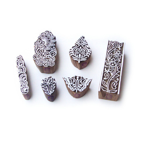 (Set of 6) Butterfly and Floral Jaipuri Motif Wood Block Stamps