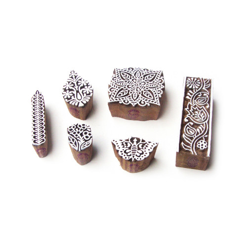 (Set of 6) Square and Border Hand Carved Motif Wood Block Stamps